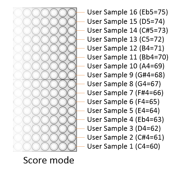 Samples in score mode